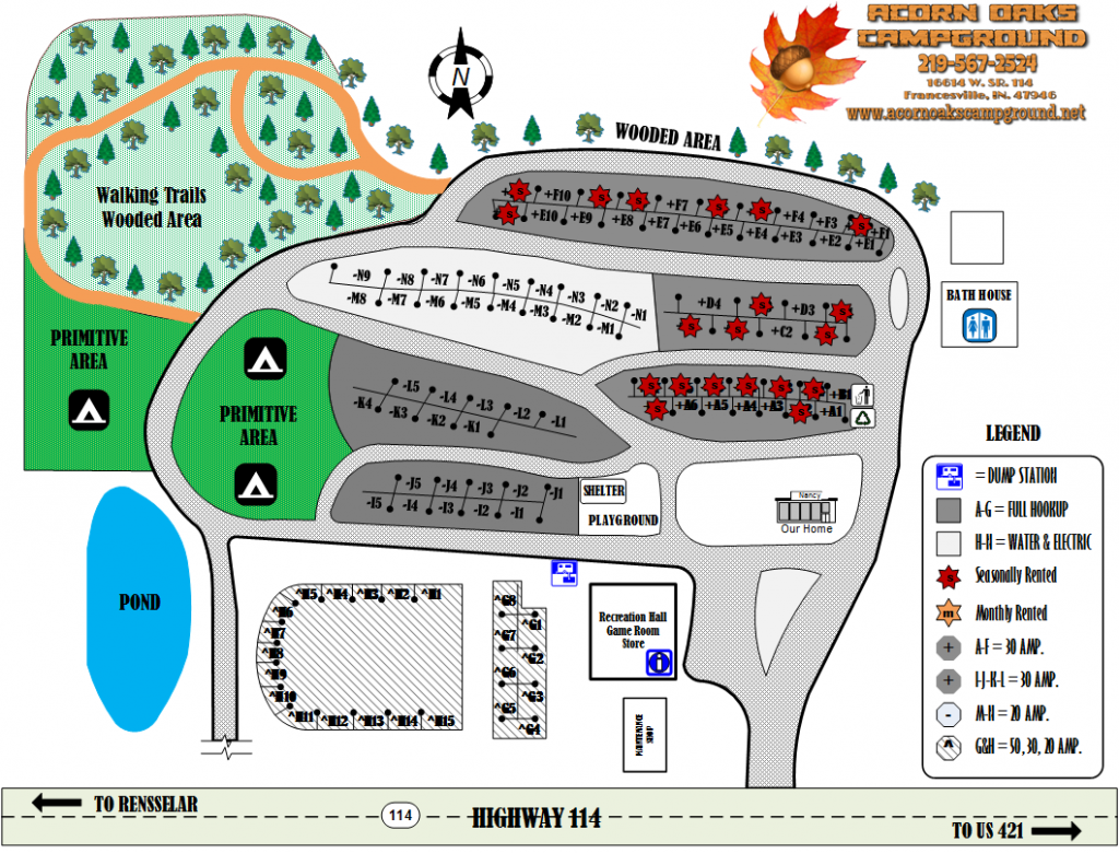 Acorn Oaks Campground Map